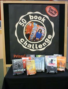 50 Book Challenge  Year long school wide challenge using library books.  Could be adapted to classroom use.  Need a prize for the competion to attract both genders.