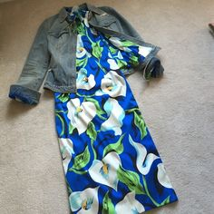 Dolce & Gabbana flower printed dress with jacket. Dolce & Gabbana silk flower printed dress with matching distressed denim jacket. Can be sold separately. Dress 40 - Jacket Size 46. Dolce & Gabbana Dresses