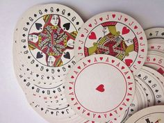 Vintage Playing Cards Round Art Deco Style Discus Playing Cards via Etsy
