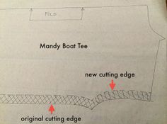 How to reduce the size of  our Mandy Boat Tee Top Pattern - take out some width through the side seams on front and back. Note: Remember to add this width back to the sleeve length.