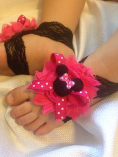 Minnie Mouse Barefoot baby sandals by SummerJadeBoutique on Etsy, $6.95