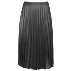 Silver Plisse Skirt (€40) ❤ liked on Polyvore featuring skirts, knee length pleated skirt, party skirts, going out skirts, metallic pleated skirt and calf length skirts