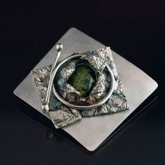 Sterling Silver and Moss Agate Brooch by NakedJewelry on Etsy,