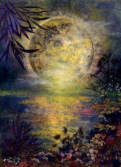 Full Moon in Flower Art - by Shelley X.