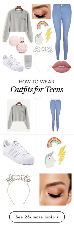 """Rainbow"" by alexzoefred on Polyvore featuring New Look, Lime Crime, Avon, Red Camel and adidas"