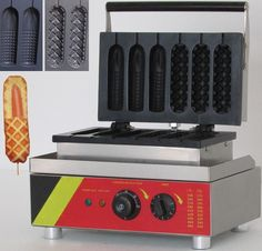 128.00$  Buy here - http://alikea.worldwells.pw/go.php?t=32442067408 - six pieces two shape Muffin hot dog & corn waffle  machine / lolly waffle maker machine