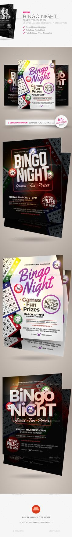 Bingo Night Flyer Templates — Photoshop PSD #ads #sunday • Available here → https://graphicriver.net/item/bingo-night-flyer-templates/19385961?ref=pxcr