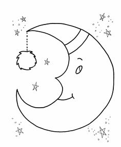 Just Coloring Pages: Moon coloring pages for children Printable coloring sheets - Moon Coloring Pages, Preschool Coloring Pages, Animal Coloring Pages, Coloring Pages To Print, Coloring Pages For Kids, Coloring Sheets, Coloring Books, Felt Patterns, Applique Patterns