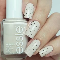 """You COULD say I'm in a polka dot mood!! I did more dots with a gel pen over 'Wrap Me Up' from the Essie Cashmere Matte Collection (but added a shiny top coat). I'm a polka dot girl at heart ♡♡"" Photo taken by @nailsbyjema"