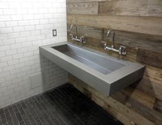 Custom Floating wall mount concrete sink by Trueform Concrete - Wall mount faucets and reclaimed wood walls