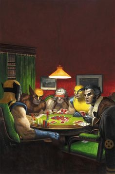 Wolverines Playing Poker - AMAZING SPIDER-MAN #590 Wolverine Art Appreciation variant cover by Paolo Rivera in the style of C.M. Coolidge