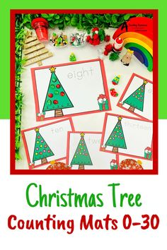 Looking for Christmas math printables for kids? then check these gorgeous math centers for learning to identify numbers and count 0-30. There's so many variations including with and without ten frames, digits and numbers as words. Your kids will love them this holiday season! Christmas Tree Mat, Christmas Math, Christmas Activities, Christmas Printables, Classroom Activities, Teaching Numbers, Numbers Kindergarten, Fine Motor Activities For Kids, Teacher Freebies