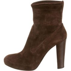 Pre-owned Gianvito Rossi Round-Toe Ankle Boots ($245) ❤ liked on Polyvore featuring shoes, boots, ankle booties, brown, suede ankle bootie, dark brown ankle boots, round toe booties, bootie boots and suede boots
