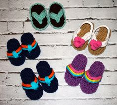 RTS Crochet Baby Flip Flops 06 months & 612 months by PlaidParlor, $15.00