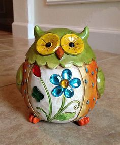 New Hand Painted Lucky Springtime Owl Home Decor Luck Wisdom Protection | eBay