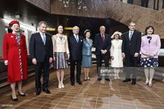 Nordic heads of State (from L - R) Queen Margrethe II of Denmark, Finnish President Sauli Niinisto, his wife Jenni Haukio,King Carl XVI Gustaf of Sweden and Queen Silvia of Sweden, King Harald V of Norway and Queen Sonja of Norway, the President of Iceland Gudni Johannesson and his wife Eliza Reid pose for the family picture at the re-inauguration of the Hanaholmen cultural centre during their visit in Helsinki on June 1, 2017.      Nordic heads of state are visiting Finland to celebrate the…