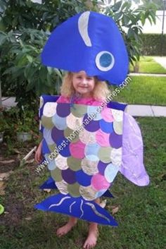 Homemade Rainbow Fish Halloween Costume: This homemade Rainbow Fish Halloween costume is based on the book RAINBOW FISH by Marcus Pfister, which is one of my daughter's favorite books. It is the