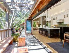 design by jason urrutia Contemporary Island Style Walnut kitchen, white cabinets, San Francisco Bay Area
