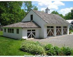 Historical Home: Gentleman's Equestrian Estate in New Hartford – shedstudio Driveway Entrance, Entrance Gates, New Hartford, Barn Garage, Hip Roof, Down On The Farm, Metal Buildings, Studio Apartment, Curb Appeal