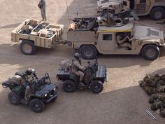 ATV's but look at the HMV, it has a 50 cal mounted on the roof, a on the back and a mounted on the passenger side. Army Vehicles, Armored Vehicles, Special Ops, Special Forces, Hummer H1, Quad Bike, Armored Fighting Vehicle, Military Diorama, War Machine