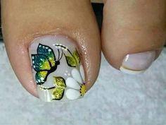Toenail Art Designs, Heart Nail Designs, Pedicure Designs, Pretty Toe Nails, Pretty Pedicures, Nails & Co, Pedicure Nails, Butterfly Nail Art, Nail Effects