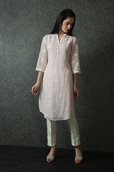 Linen kurti embellished with thread work from #Benzer #Benzerworld #ethnicwear #indowesternwear #womenswear