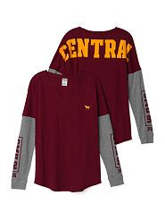 Central Michigan University Long Sleeve V-neck Tee Victoria's Secret Love Pink