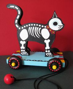 Day of the Dead CAT PULL TOY Vintage Style. $65.00, via Etsy.