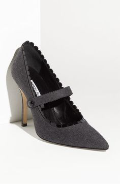 Manolo Blahnik Mary Jane Flannel pump