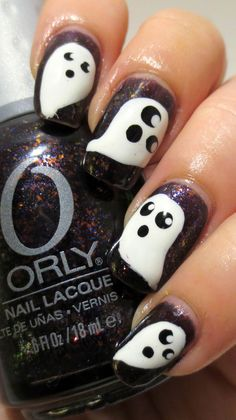 Galactic Lacquer: 8 Spooky Nights - Ghosts Halloween Hair, Halloween Ghosts, Halloween Nail Art, Halloween Images, Holloween Nails, Halloween 2013, Nails Only, Love Nails, Fun Nails
