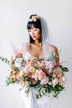 embellished slip wedding dress with pink tinted veil and lush bouquet #weddinginspiration #weddingcolor #moodboard