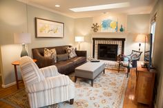 Small spaces: specific sized furniture pieces fit nicely into this small family room space.