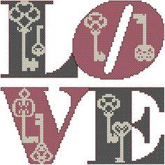 Schemi punto croce con amore Vintage Keys