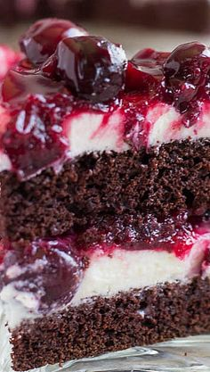 Chocolate Cake with White Chocolate Mousse  Cherry Sauce