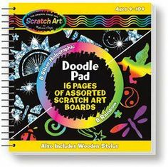 Activity Books Doodle Pad by MELISSA & DOUG. $7.79. Drawing Paper. Flip open the doodle pad, draw or trace your designs and watch amazing effects shine through! With this pocket-sized spiral-bound drawing book, it's easy for kids to take their Scratch Art to go. The book includes 8 Scratch Art pages with rainbow backgrounds, 8 Scratch Art pages with silver holographic backgrounds, a wooden mini stylus and a stylus pocket in the cover.