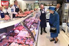 Queen Elizabeth II speaks with co-owners of HM Sheridan Butchers Mr Barry Florence (centre) and Mr John Sinclair (right), during a visit to Ballater World Of Warcraft, Mousse, Diana, Elisabeth Ii, High Street Shops, Nine Months, Save The Queen, Thats The Way, Queen Elizabeth Ii
