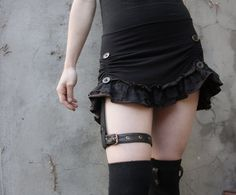 Rival Mini ruffle skirt with leather garter by LotusNoir on Etsy