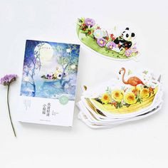 30 pcs/lot Small animals and flowers boats heteromorphism postcard greeting card christmas & birthday message card gift cards