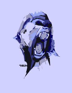 wat? #monkey #art #urban #arts #blue #evil #hell #what