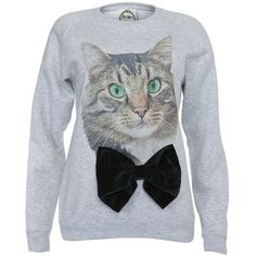 79fe4f8bd7f0 Alice Takes a Trip Grey Cat Bow Sweater ($29) found on Polyvore Oversized  Grey