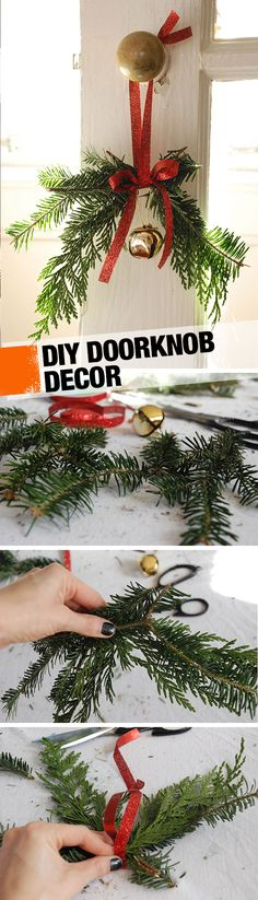 DIY Doorknob Decorations (All you need is a ribbon and some greenery!)