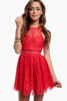 Stylestalker Love Me Do Lace Dress in Coral Red
