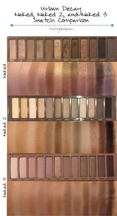 Urban Decay Naked 1, Naked 2, and Naked 3 Palette Swatches and Comparison on PrettyGossip! Click to see similar shades side by side.