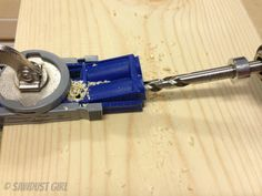 Tool Tip - how to keep a pocket hole jig clear of sawdust as you're drilling - from Sawdust Girl