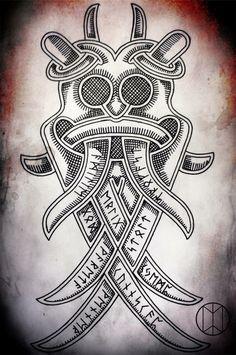 Loki Mask Norse Tattoo, Viking Tattoos, Vikings, Viking Designs, Mask Tattoo, Norse Symbols, Viking Art, Body Mods, Runes