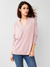 NEW! The GAP Brooklyn V-neck Pullover SWEATER Primitive-Pink Merino Wool Women L