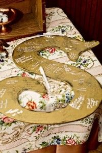 "Another Pinner ""wedding guest book idea---good house decor later too!"" I might do this- but on a heart with some lace ribbon through the top to hang it!"