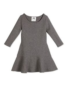 3/4-Sleeve+Slub+Jersey+Flounce+Dress,+Charcoal+by+Milly+Minis+at+Neiman+Marcus.