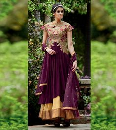 #Cream & #Purple Embroidered #Georgette Unstitched #Salwar #Kameez by #kimora at #Indianroots
