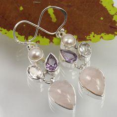Handmade Jewelry Earrings Real MULTI-COLOR Gemstones 925 Solid Sterling Silver…
